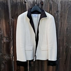 Akris Punto ivory and black textured zip jacket